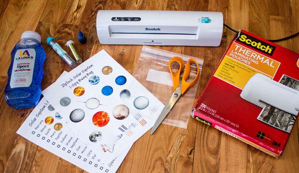 Solar System I Spy Busy Bag Supplies