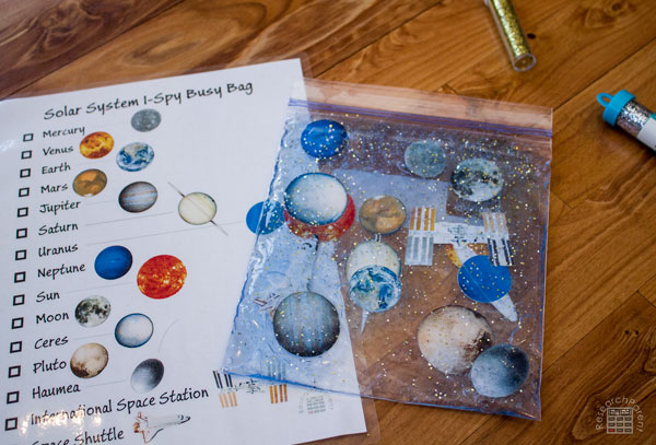 Solar System I Spy Busy Bag without Dye