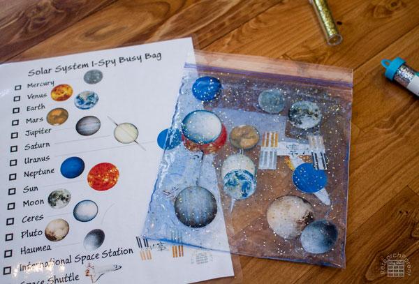 Solar System I Spy Busy Bag without Dye
