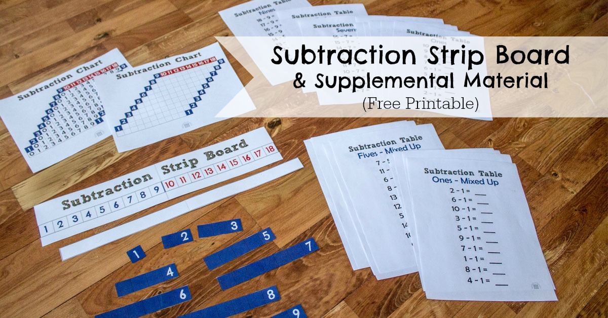 Subtraction Strip Board Researchparent Com
