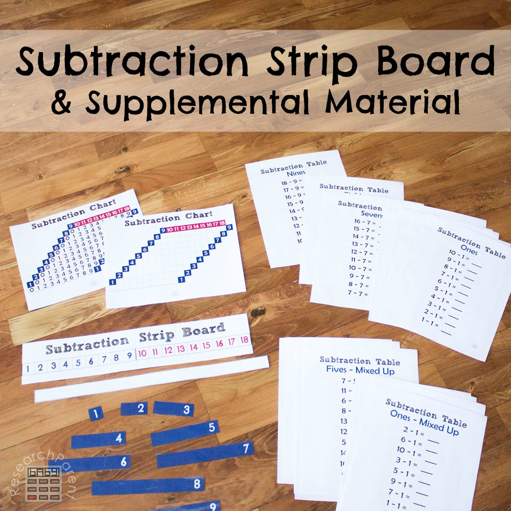 Subtraction Strip Board and Supplemental Material