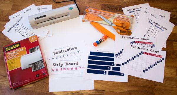 Subtraction Strip Board Supplies