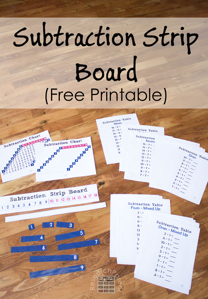 Free, Printable, Montessori Subtraction Strip Board and Supplemental Material