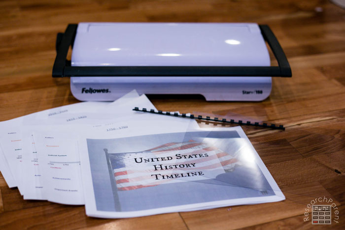 Supplies for United States history timeline