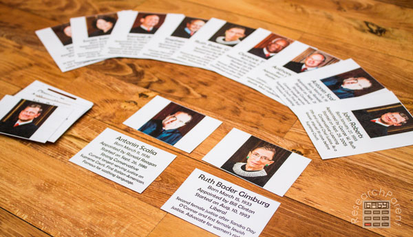 Supreme Court Justice Cards by ResearchParent.com