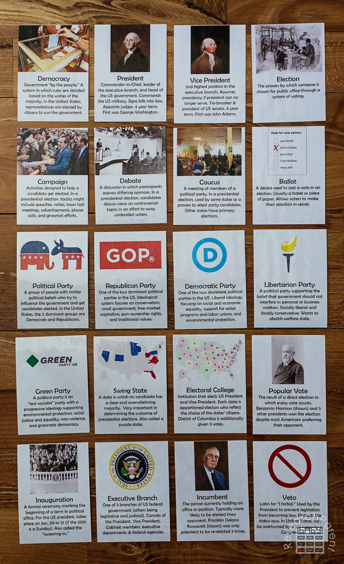 US Presidential Election Cards Full Set
