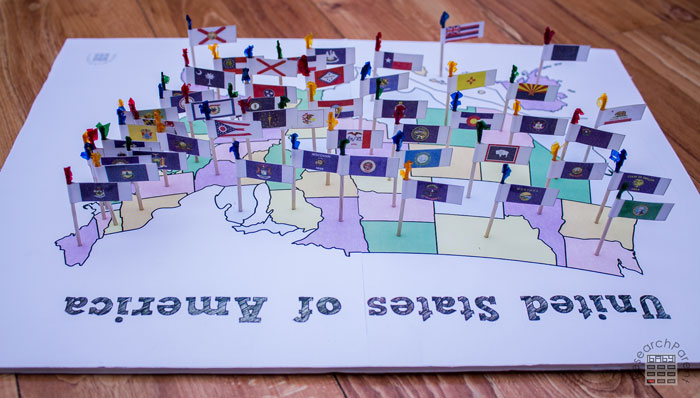 United States Flags on Toothpick Map