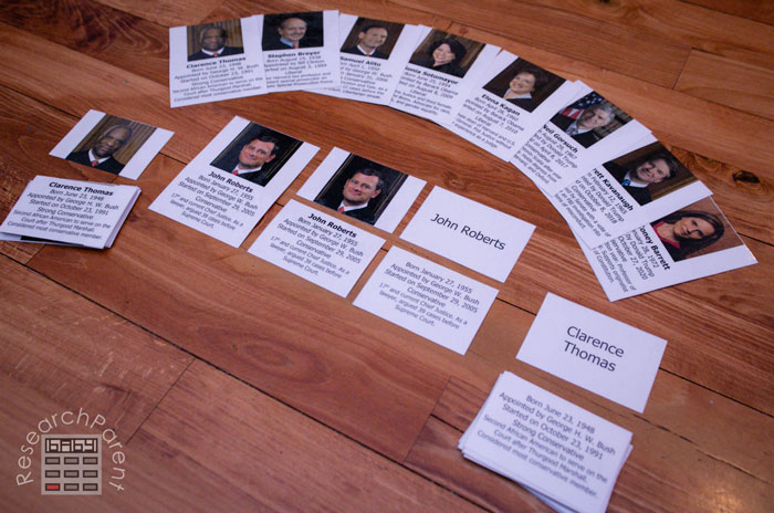United States Supreme Court Justice Cards Close-Up