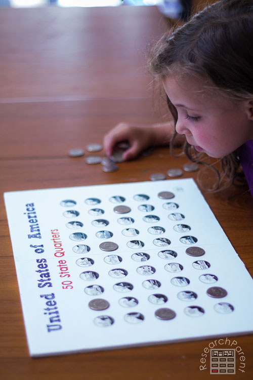 Using 50 State Quarter Collection Board