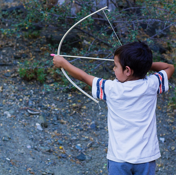 Using Homemade Bow and Arrows