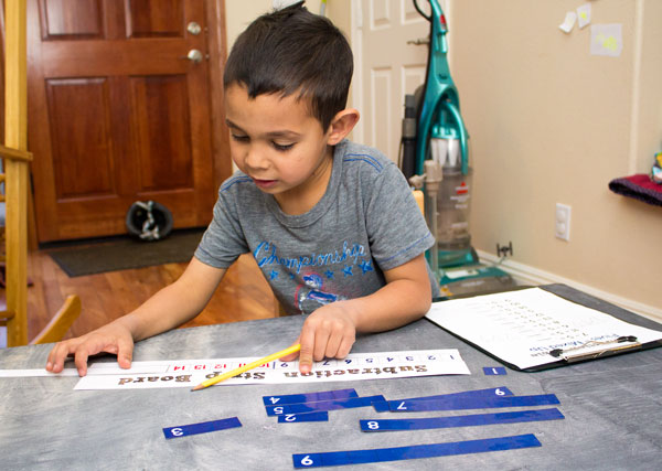 Using Subtraction Strip Board