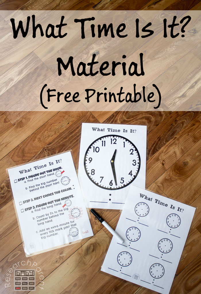 What Time Is It? Material (Free Printable)