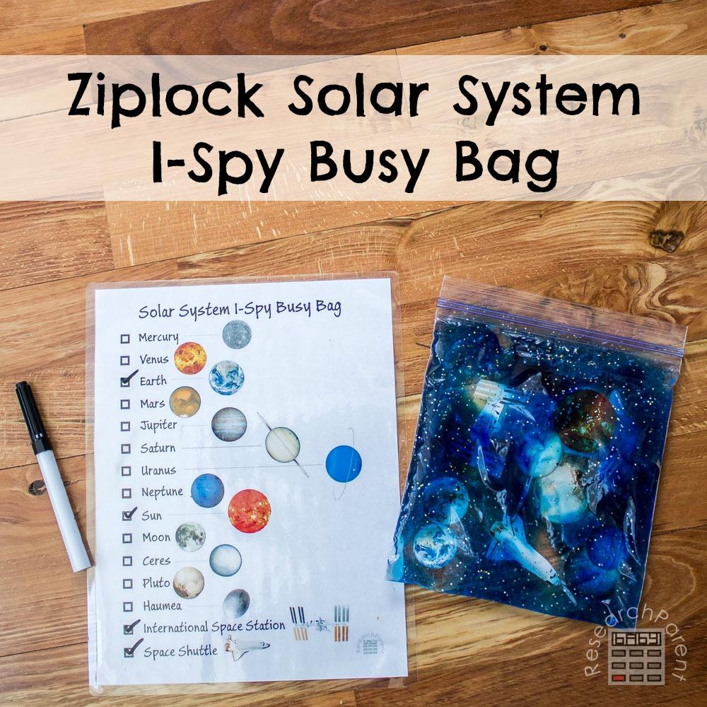 Ziplock Solar System I Spy Busy Bag