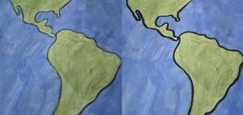 before and after outline continents