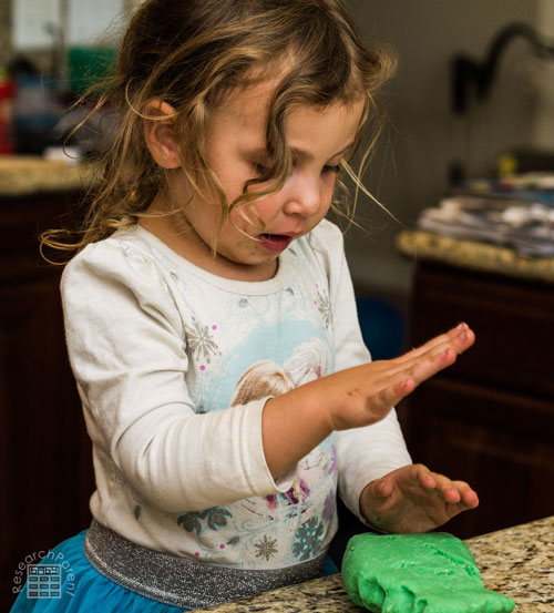 Mashing Play Dough